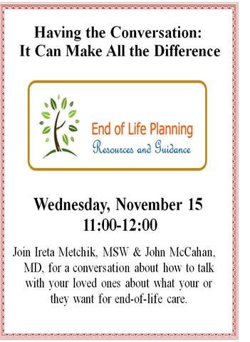 COA Talk on Nov. 15