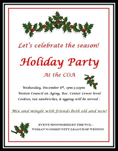 Join Us for a Holiday Party at the Weston Council on Aging